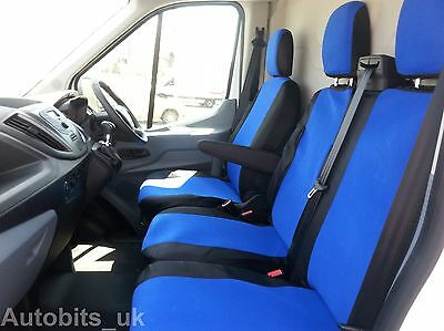 Ford Transit Custom 2013 + Seat Covers Blue - Black Fabric Tailored To Fit