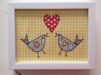 Applique stitched textile art picture freehand machine embroided