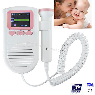 handheld LCD Baby Heartbeat Monitor FHR Detection Fetal Doppler with 2MHz probe