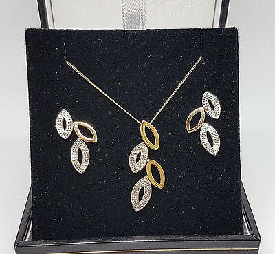 Lovely 9ct Gold Diamond Leaf Necklace & Earring Set.  Goldmine Jewellers.