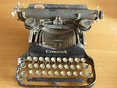VINTAGE ancien MACHINE à ECRIRE Schreibmaschine CORONA old TYPEWRITER 1917 USA