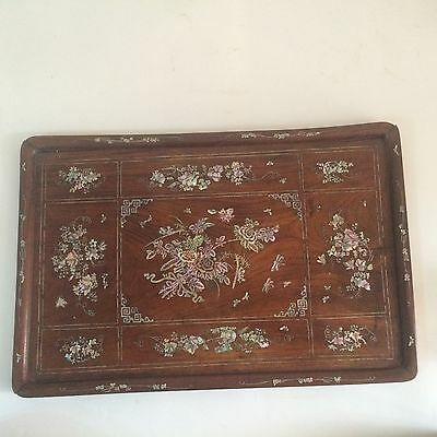 """Antique Chinese Exquisite Technology Wood Mother of Pearl Inlay Tray  24"""""""