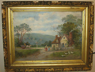 Antique 19th Century 'COUNTRYSIDE FAMILY HOME' Folk Art OIL PAINTING -Horse Cart