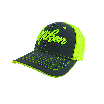 Miken Hat by Pacific 404M CHARCOAL/VOLT Script Youth (6 3/8- 6 7/8), new