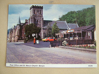 Postcard. POST OFFICE AND ST. MARY'S CHURCH, BIRNAM. Unused.