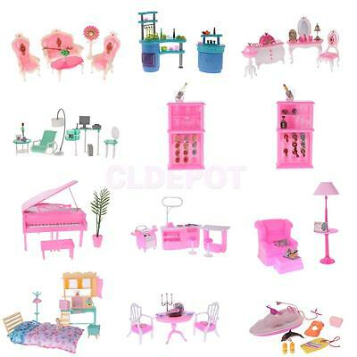 Plastic Doll House Furniture Playsets Toys for 1/6 Scale Barbie Doll Accessories