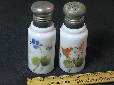 Vtg Milk Glass - Salt and Pepper Shakers - Hand Painted Flowers - Victorian