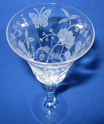Antique Etched Crystal Wine Glass - Early 1900's