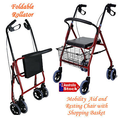 Foldable Rollator Walker Walking Frame Mobility Aids Light Weight Indoor Outdoor
