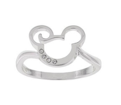 Disney✿Mickey Mouse Icon Ring✿Silver Size 6 Made with Swarovski ® Crystals