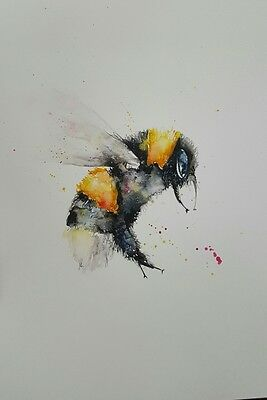 """ELLE SMITH ART. BRAND NEW ORIGINAL WATERCOLOUR PAINTING.16x12"""" """"BEE ON A FLOWER"""""""