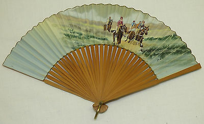 Old Watercolor Painting Horse Race Racing Painted on Chinese Paper Bamboo Fan