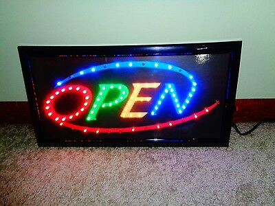 Super Bright Multi Color Rainbow Open Led Neon Business Motion Light Sign