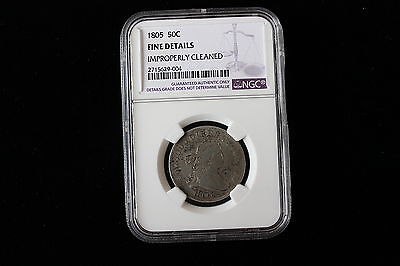 Wrong Holder  1805 .50 1/2 Dollar Coin Is a .25 Quarter ngc fine little mistake
