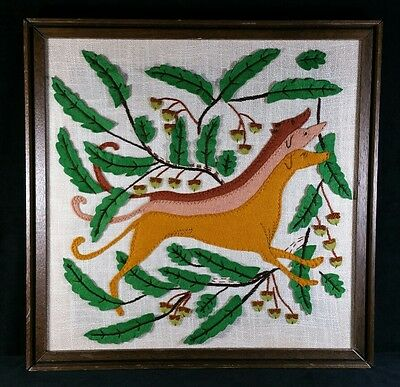 "Vintage Embroidery Art On Felt & Fabric Of 3 Greyhounds Wood Framed 19.75"" Sq"