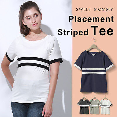 Top premaman e allattamento con strisce Striped maternity and nursing tee ST6034