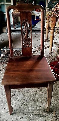 Antique 1900s Dragon RedCedar Hand Carved Chair