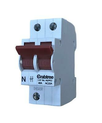 Crabtree 40/MI2 Switch Disconnector 40 Amp Double Pole