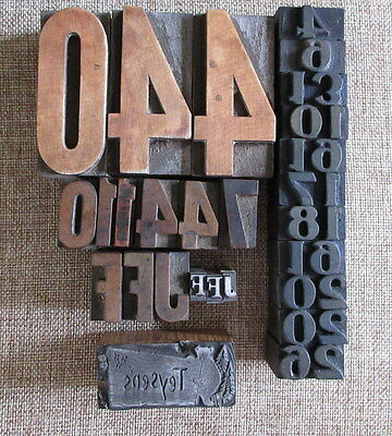 Lot of 27 Letterpress Printers Blocks Wood & Metal Typography Printers Cut