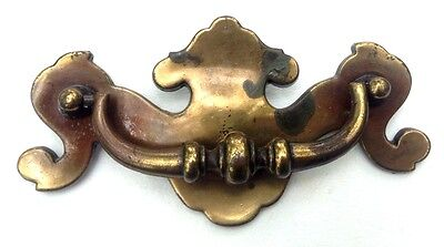 """Brass Chippendale Antique Hardware Drawer Pull Batwing Vintage Handle 3 """"centers"""