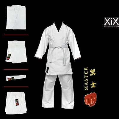 Complete White Karate Suit with Belt Student GI Karate Uniform ALL SIZES
