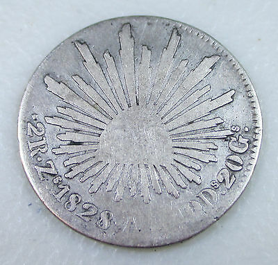 1828 Mexico 2 Reales Silver Foreign Coin - Lot P3