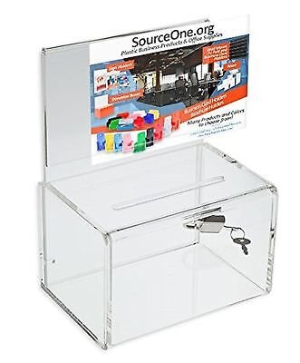 Source One Ultra-Mini Small clear Donation Box 4 inch wide Clear - 4 Inch NEW