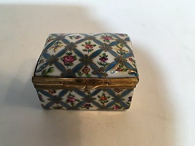 Sevres Hand Painted Gilded Porcelain Trinket Pill Box Flowers Sevres Blue