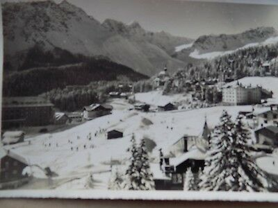Vintage Old Posted Postcard 1948 Switzerland Skiing Mountain Snow Alps Dorf a
