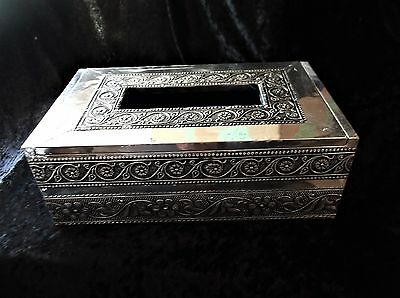 L@@k! Indian Moroccan Style Silver Pressed Metal Tissue Box Chest Cover -Bx42