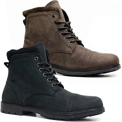 Mens New Leather Combat Zip Up Ankle Cowboy Military Army Biker Boots Shoes Size