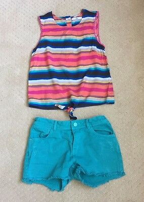Girls Short Outfit Teal Distressed Denim Shorts and Striped top Size 10/11