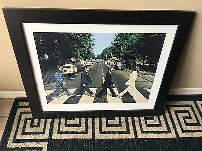 "The Beatles Abbey Road Framed Picture 34"" By 28"" & 13.5"" Wall Clock-New"