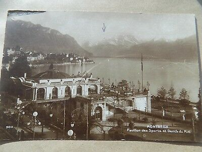 Vintage Old Posted Postcard 1923 Montreux Sports Pavilion Dent's Switzerland a