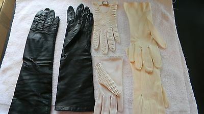 Vtg. Ladies Gloves - 3 Pairs - Beautiful Condition!  Doe Skin, Leather - Take A
