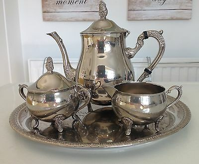 Vintage Collectable Silver Plate Teapot Milk Jug & Sugar Bowl With Tray