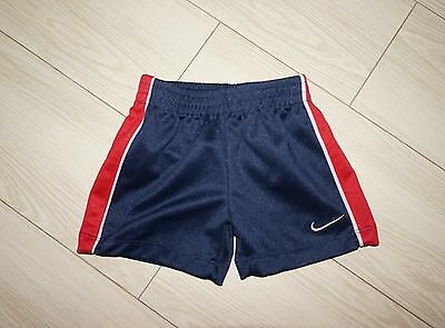 Baby Boys NIKE Athletic Shorts Polyester Navy Blue Red Gray Trim 3-6 Months 3-6M