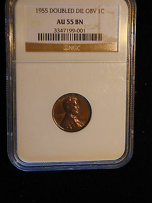 1955 Double Die Obverse Lincoln Cent Au 55 Bn Penny Ngc