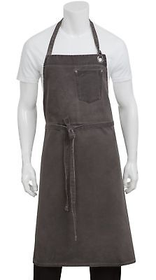 Chef Works Dorset Chefs Bib Apron (ABCAQ004) Pewter Chef's Bib Apron NEW