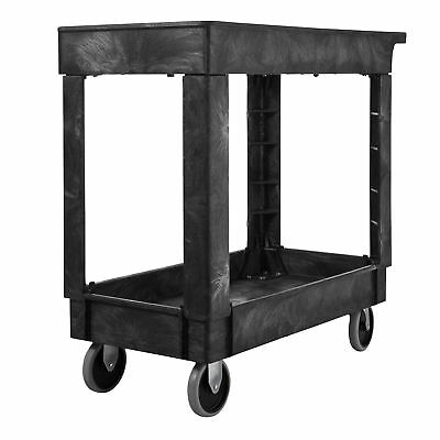 "Rubbermaid Commercial Utility Cart Lipped Shelves Medium Black 5"" Non-Mar... NEW"