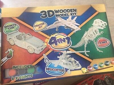 3d wooden model kit 4 in 1 brand new in box includes x6 paints
