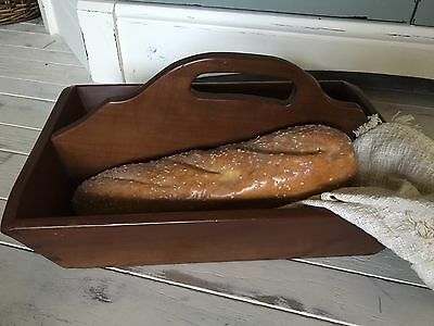 Beautiful Antique Vintage Dovetail Wood Cutlery Tote Primitive  Box Tray