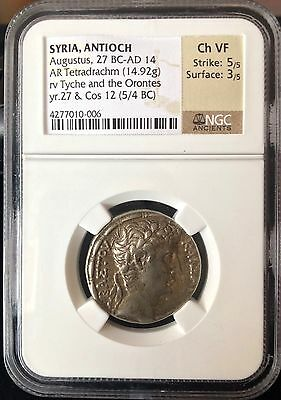 "Augustus Silver Tetradrachm NGC Ch VF ""Money of the Bible"""