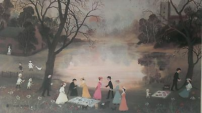 "Helen Bradley Signed Limited Edition Print ""Our Picnic"" 1972 Gilt Frame Original"