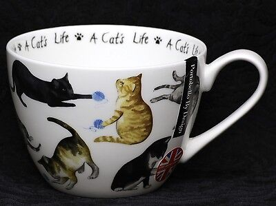 PORTOBELLO By DESIGN A CAT'S LIFE Oversize Bone China Jumbo  Cup