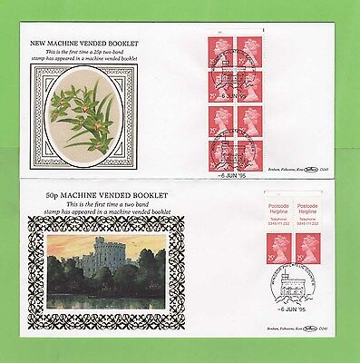 G.B. 1995 50p & £2.00 booklets on two Benham First Day Covers