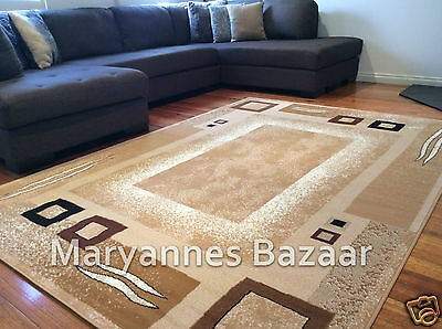 Extra Large Floor Rug Beige Brown Modern All Sizes Available FREE DELIVERY 1365