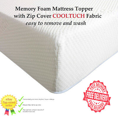 Memory Foam Mattress Topper with Zip Cover cool tuch easy remove & wash
