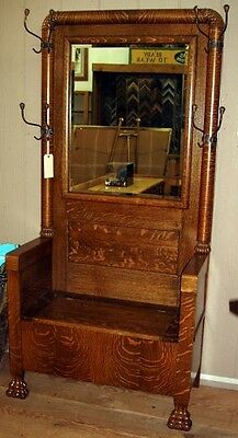 Antique Oak Hall Tree with Mirror and Storage Circa 1880s