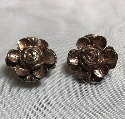 Victorian Antique Gold Filled Flower Clip Earrings w/ Sterling Backs